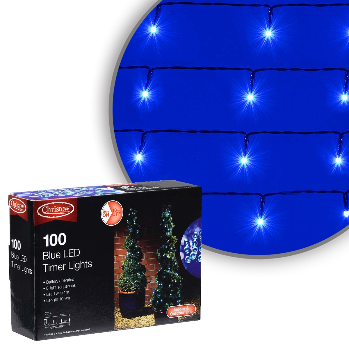 Image of Blue 100 LED Battery Multi-Function Christmas Timer Lights