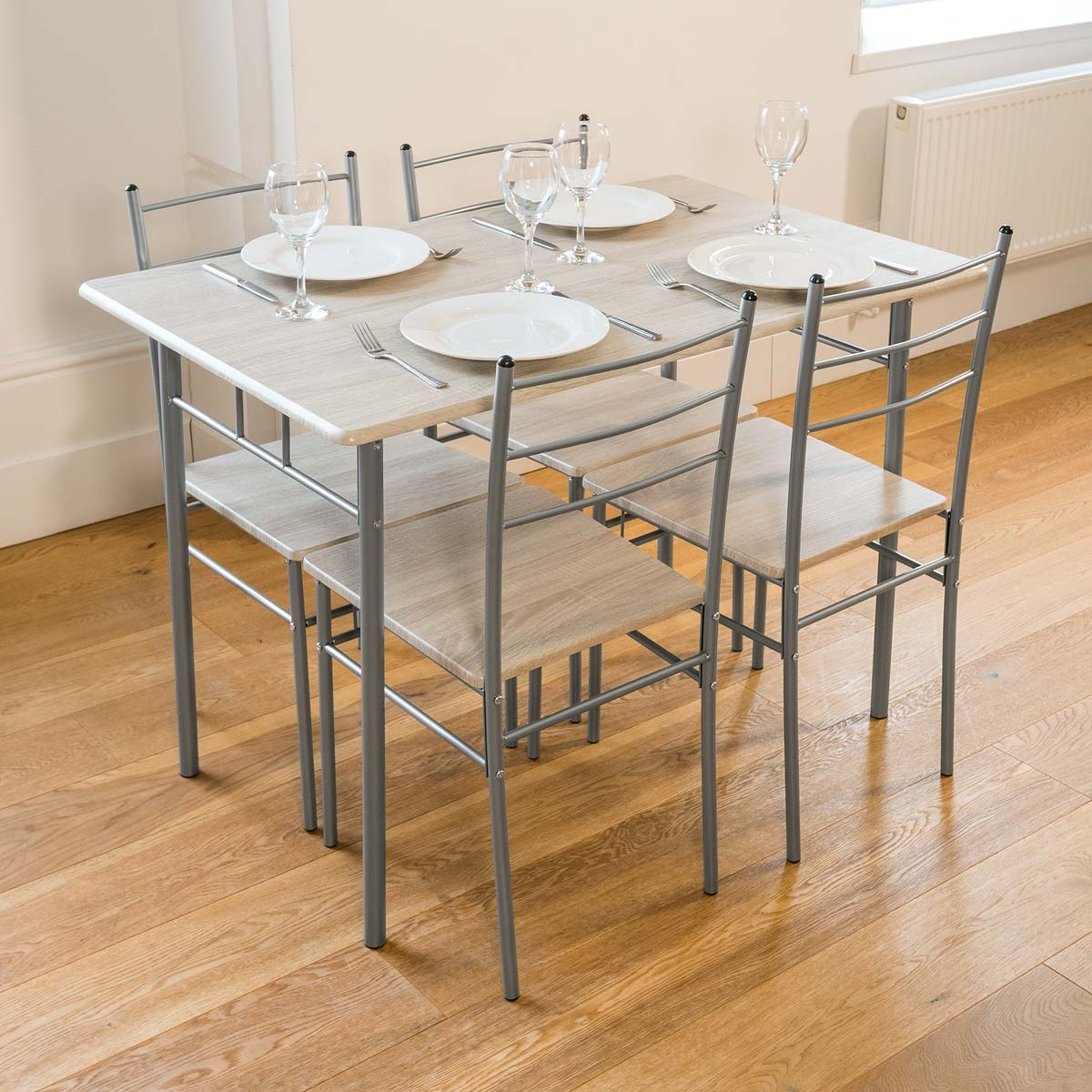 Image of Cecilia 5 Piece Table & Chair Set - Chrome