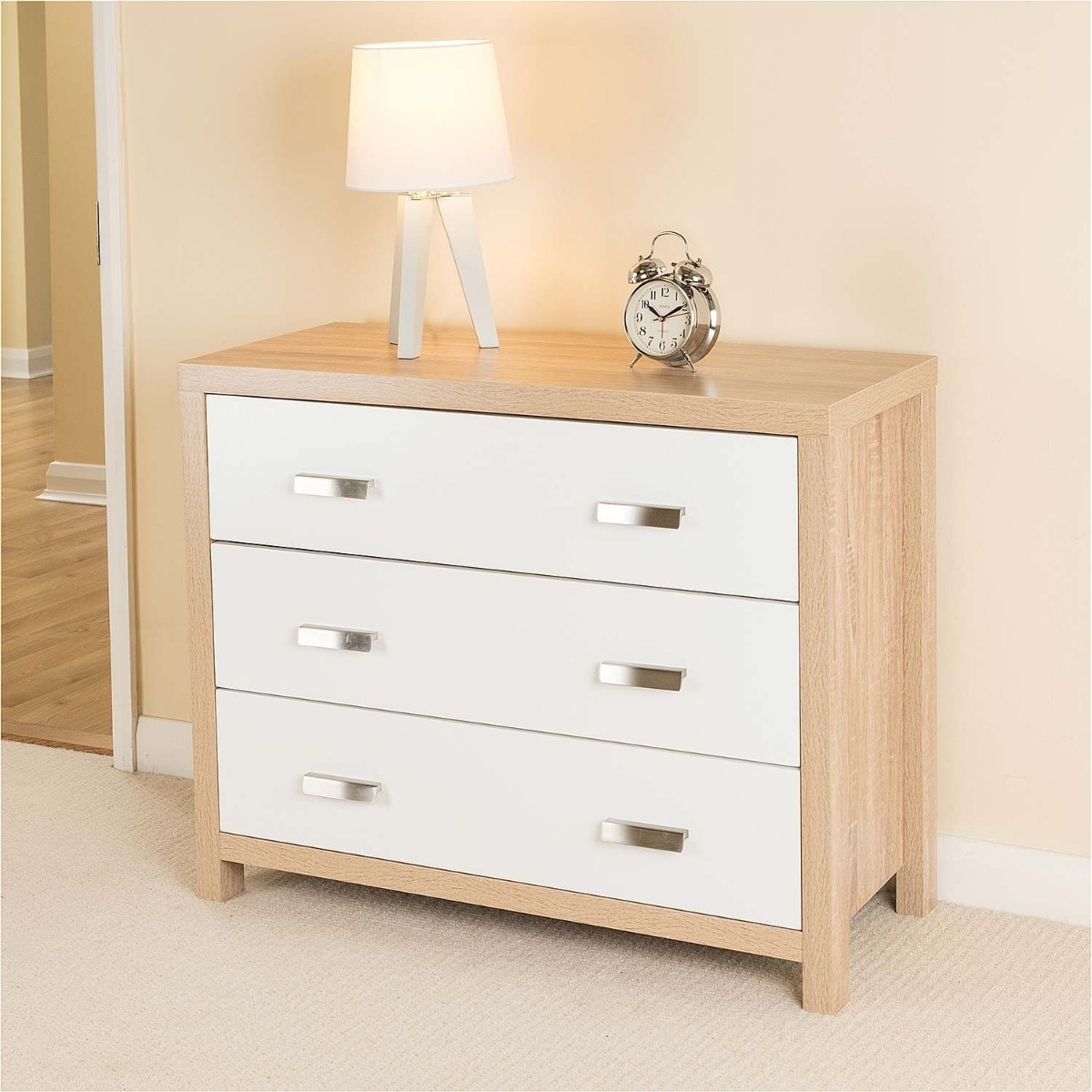 Image of Bianco Oak Effect 3 Drawer Chest