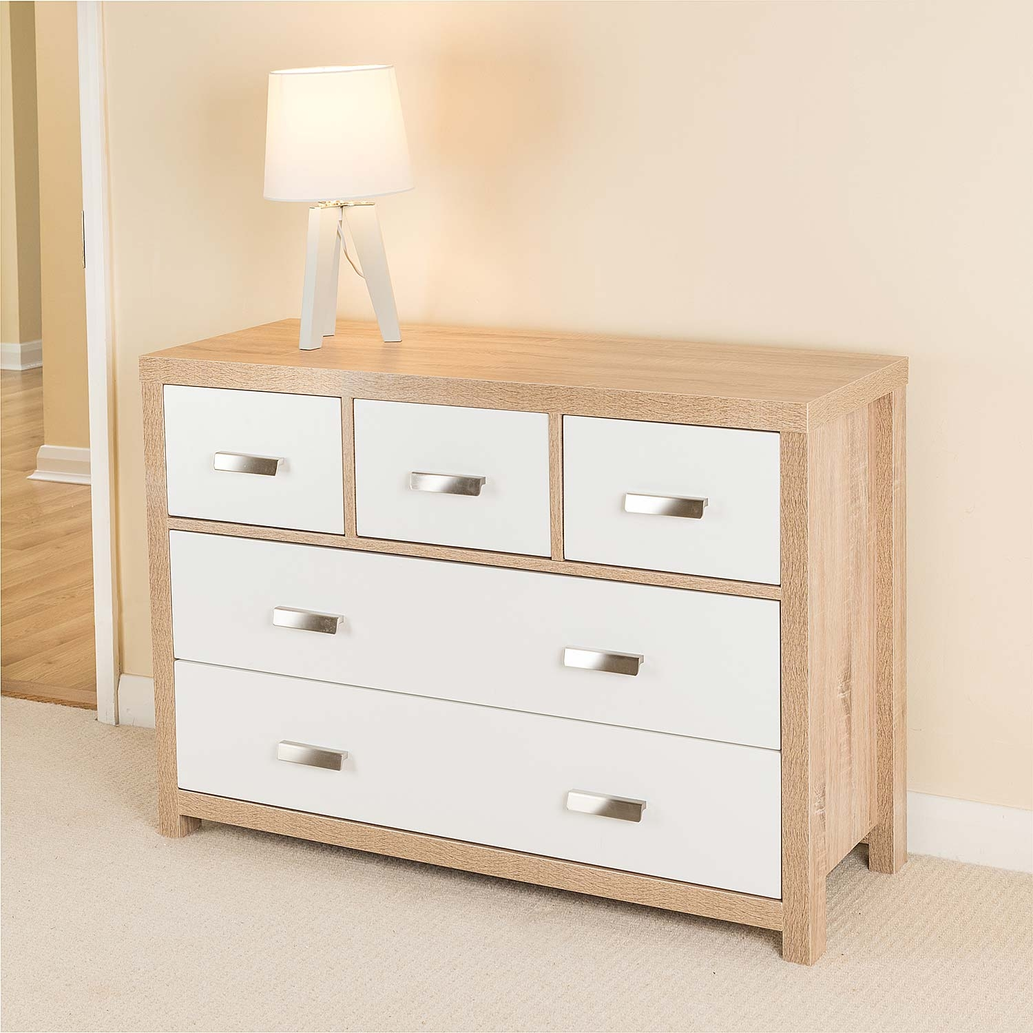 Image of Bianco Oak Effect 5 Draw Chest of Drawers