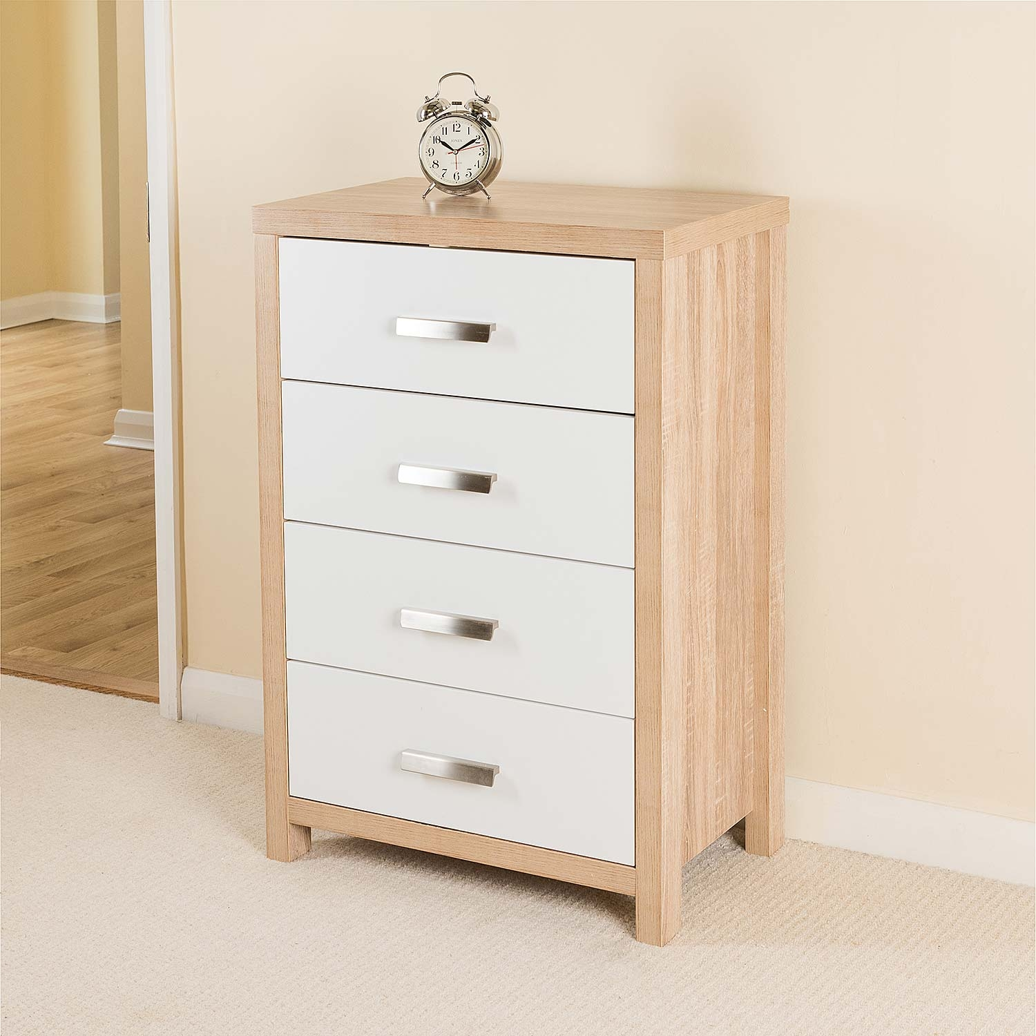 Image of Bianco 4 Drawer Chest, Oak Effect