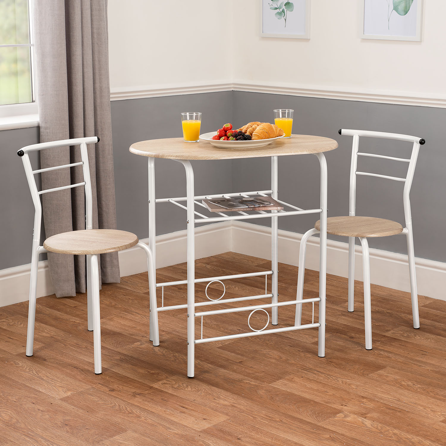 Image of 3 Piece Breakfast Table Set - White