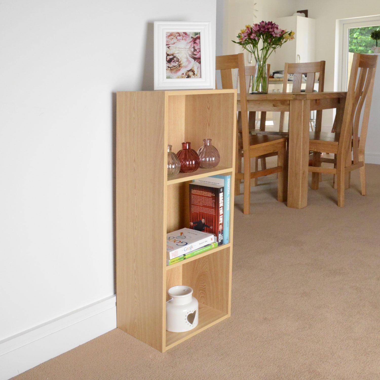 Image of Christow 3 Shelf Wooden Storage Unit (Light Oak)
