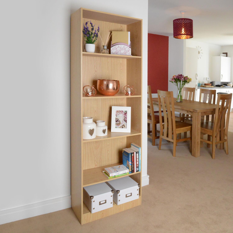 Image of 5 Shelf Storage Bookcase, Shelving Unit (Light Oak)