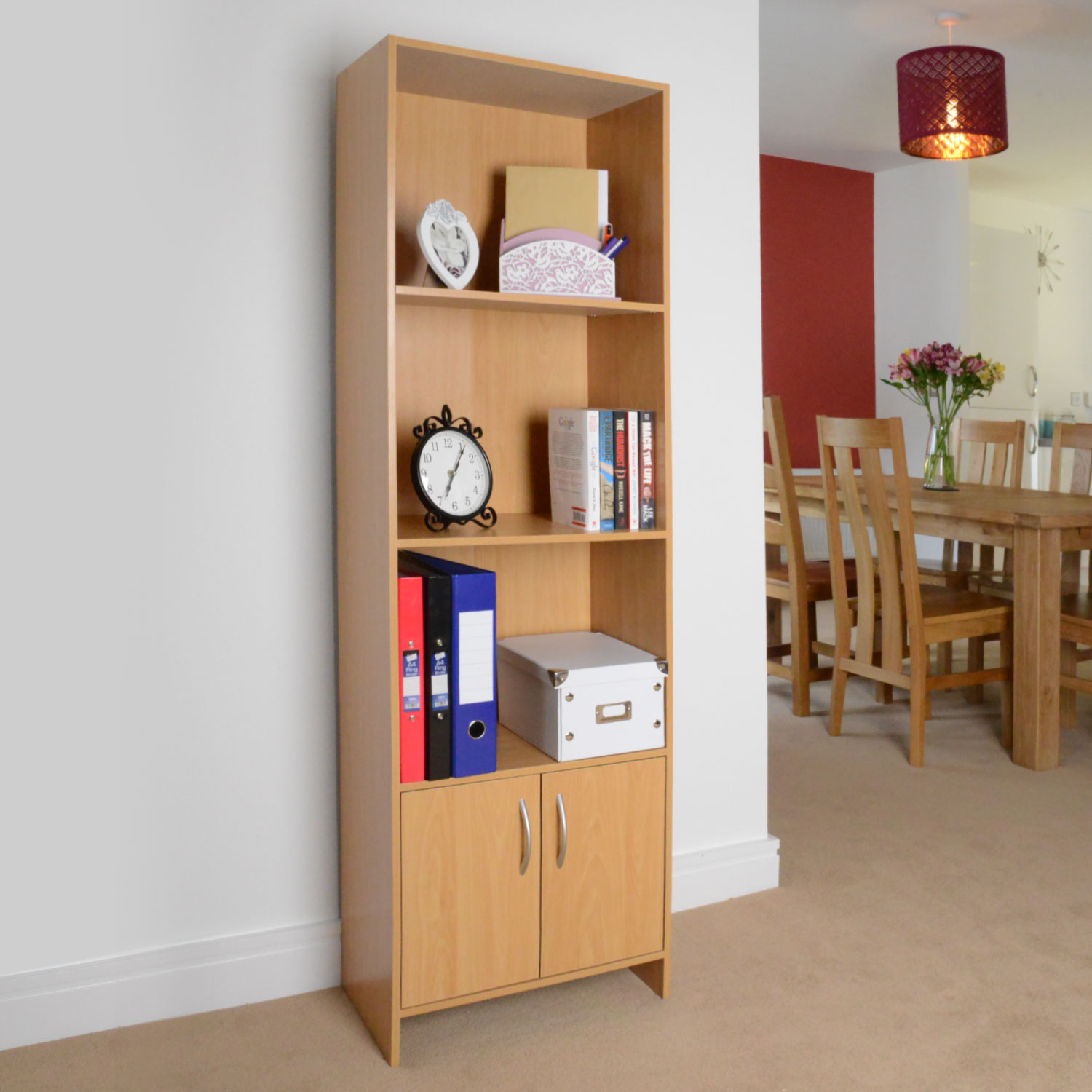 Image of Christow 3 Shelf Wooden Storage Unit With Cupboard (Beech)