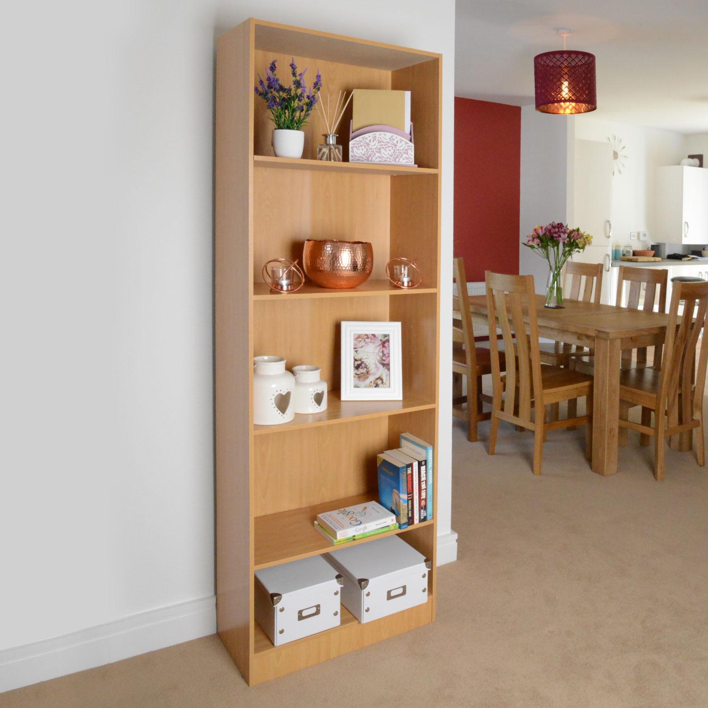 Image of 5 Shelf Storage Bookcase, Shelving Unit (Beech)