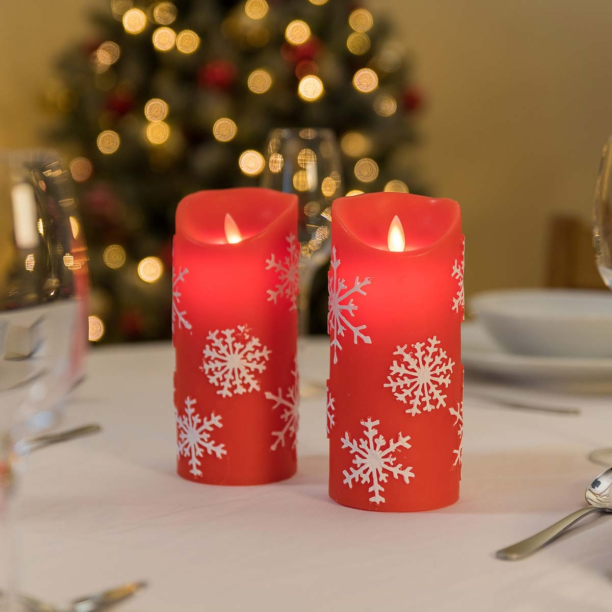 Image of Christow Snowflake LED Christmas Candles (2 Pack) - Red