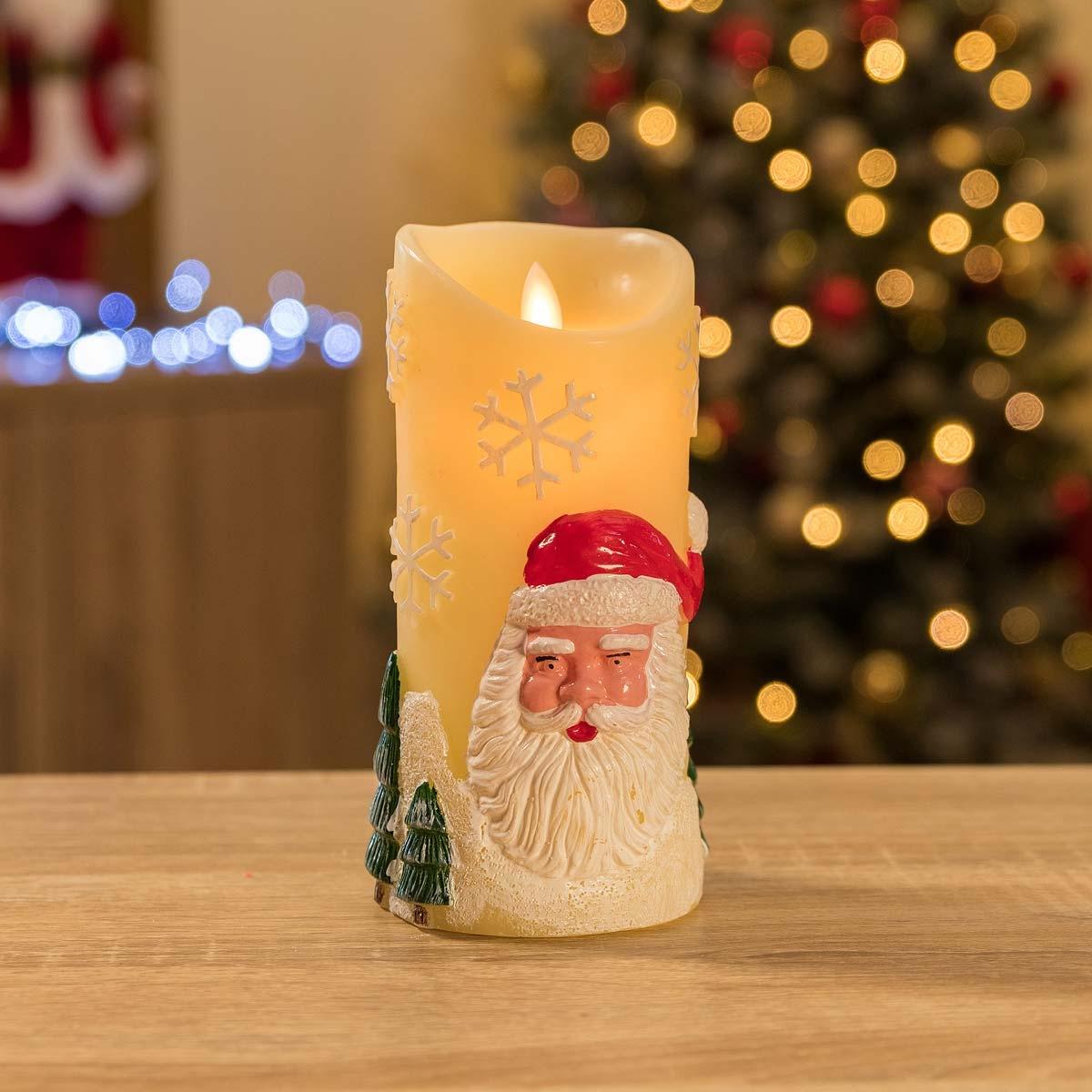 Image of Santa Claus LED Christmas Candle - Cream