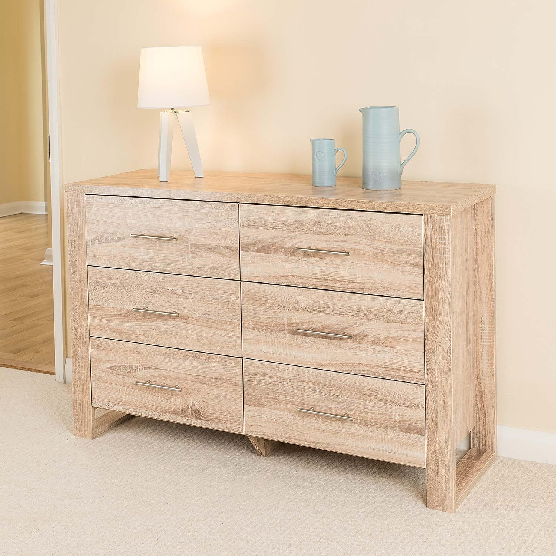 Image of Oak Effect 6 Drawer Cabinet