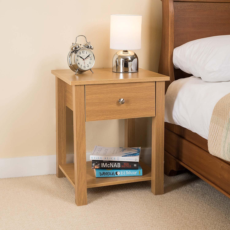 Image of Wooden 1 Drawer Nightstand (Oak)
