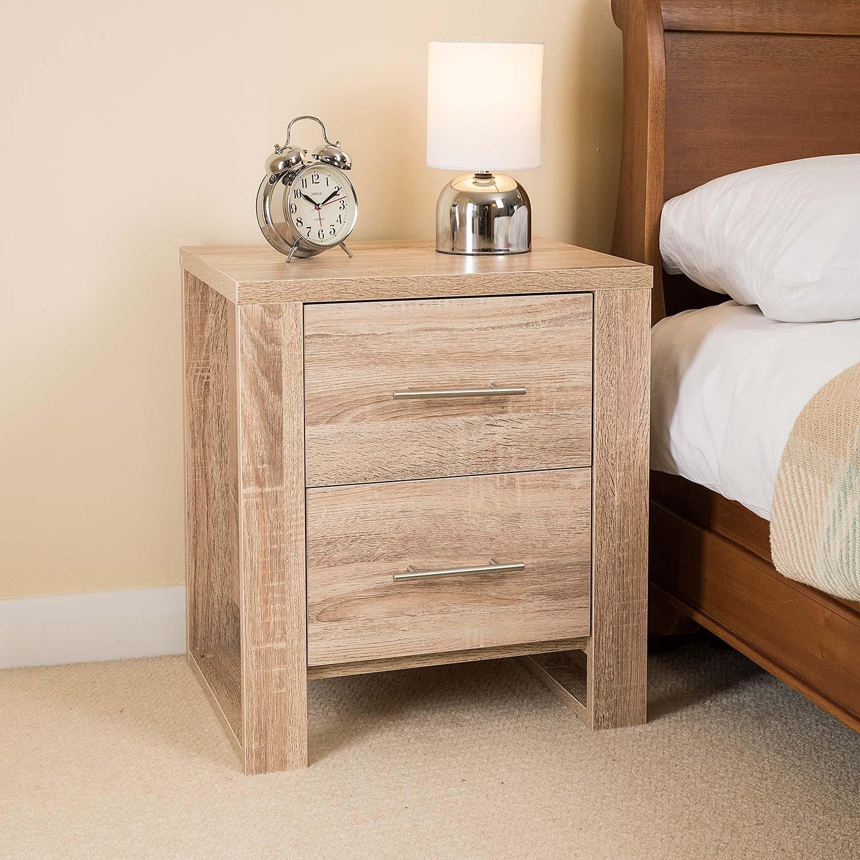 Image of Oak Effect 2 Drawer Bedside Table