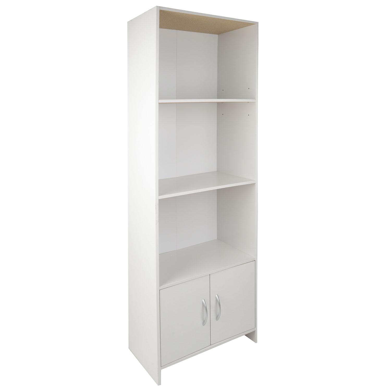 Image of Christow 2 Door 3 Shelf White Wooden Storage Unit