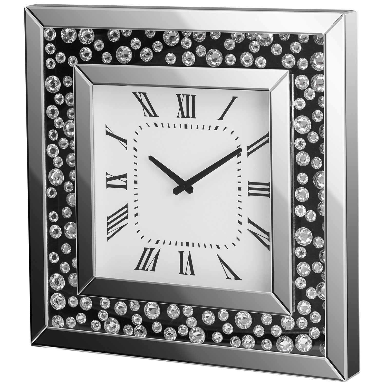 Image of Christow Floating Crystal Mirrored Wall Clock