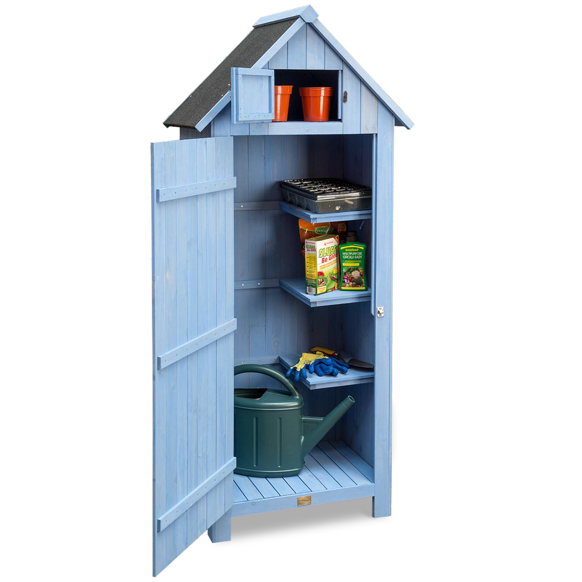 Image of Narrow Garden Shed - Blue