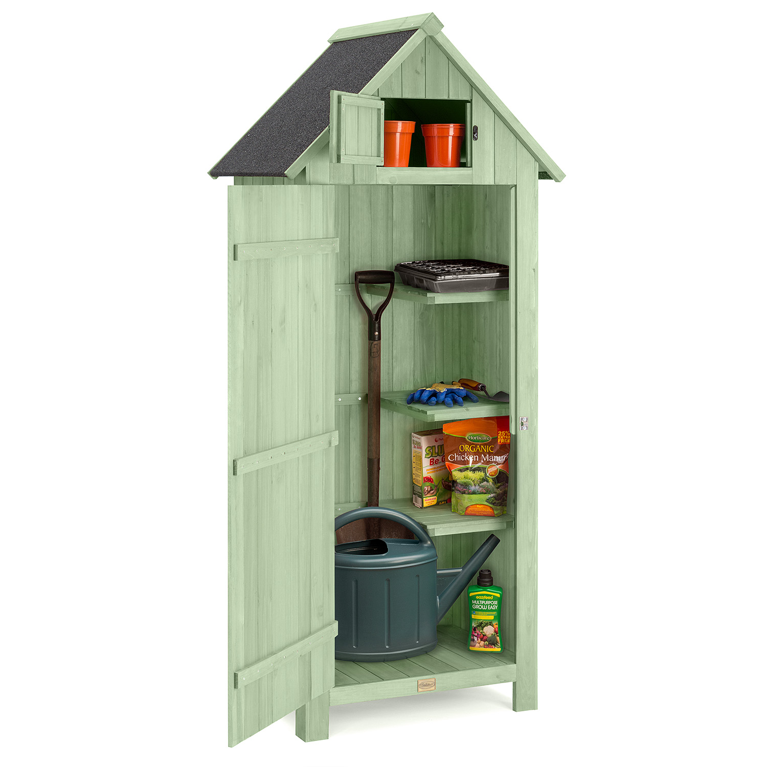 Image of Narrow Garden Shed - Sage Green