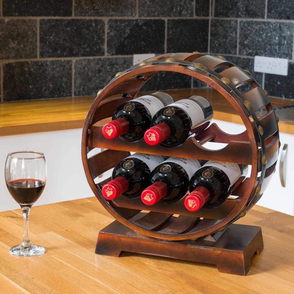 Image of Wooden Barrel 6 Bottle Wine Rack