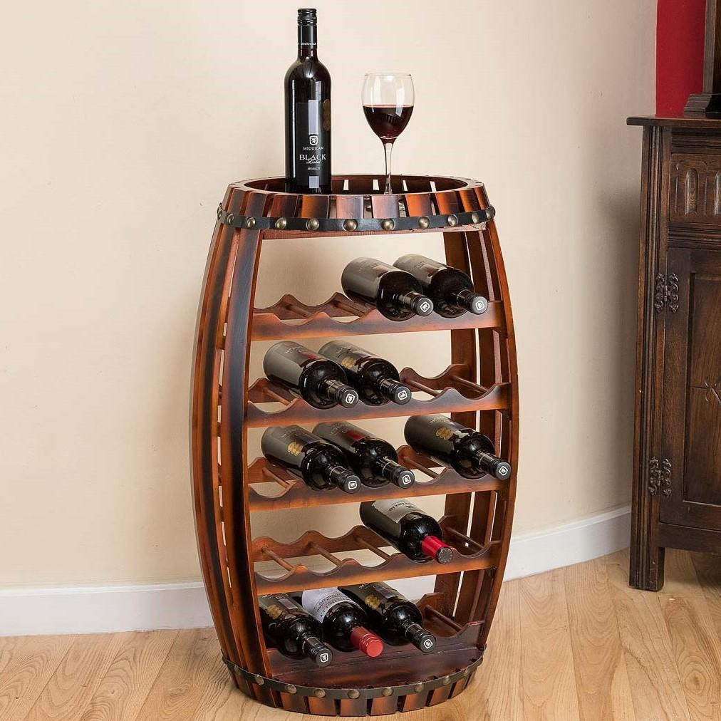 Image of Wooden Barrel 23 Bottle Wine Rack