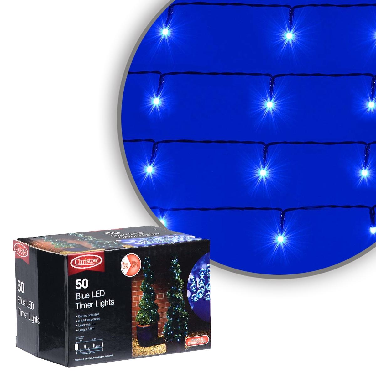 Image of Blue 50 LED Battery Multi-Function Christmas Timer Lights