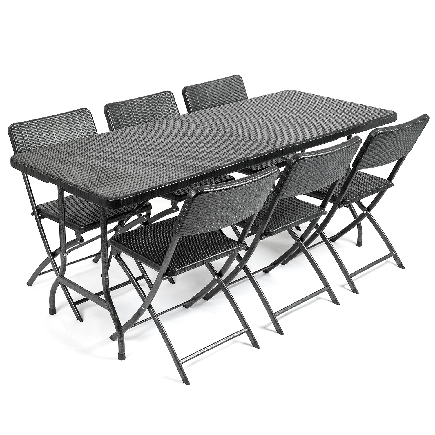 Image of Rattan Effect 6 Seater Dining Set (6ft)