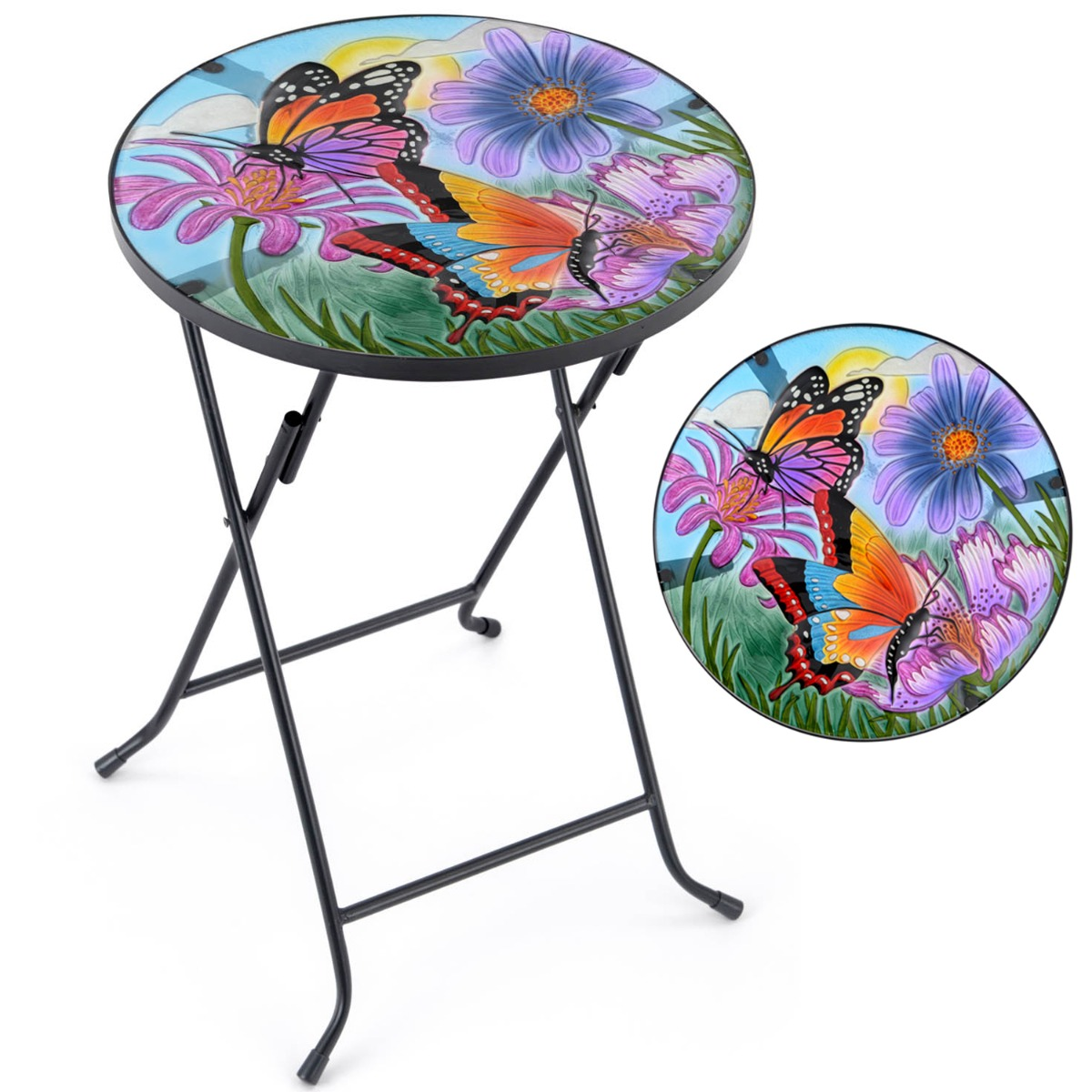 Image of Glass Butterfly Garden Table