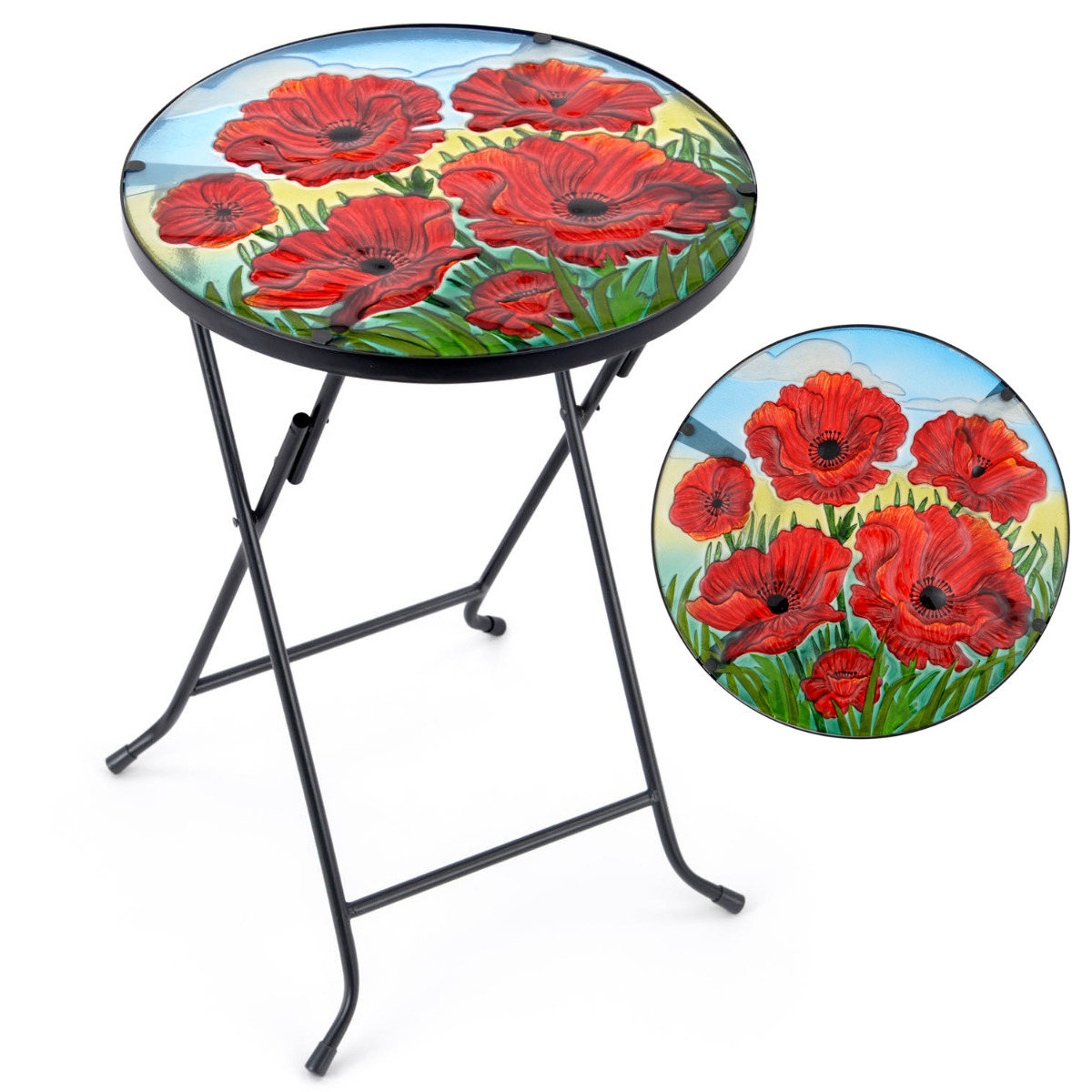 Image of Glass Poppy Garden Table