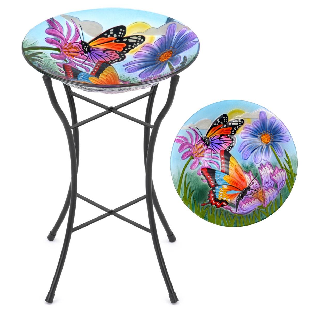 Image of Glass Butterfly Bird Bath