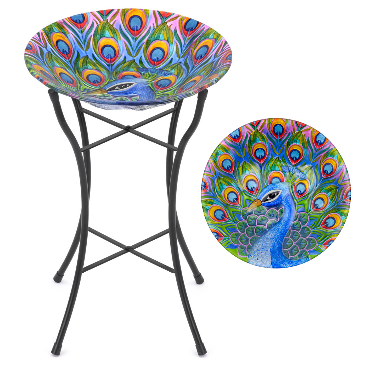 Image of Glass Peacock Bird Bath
