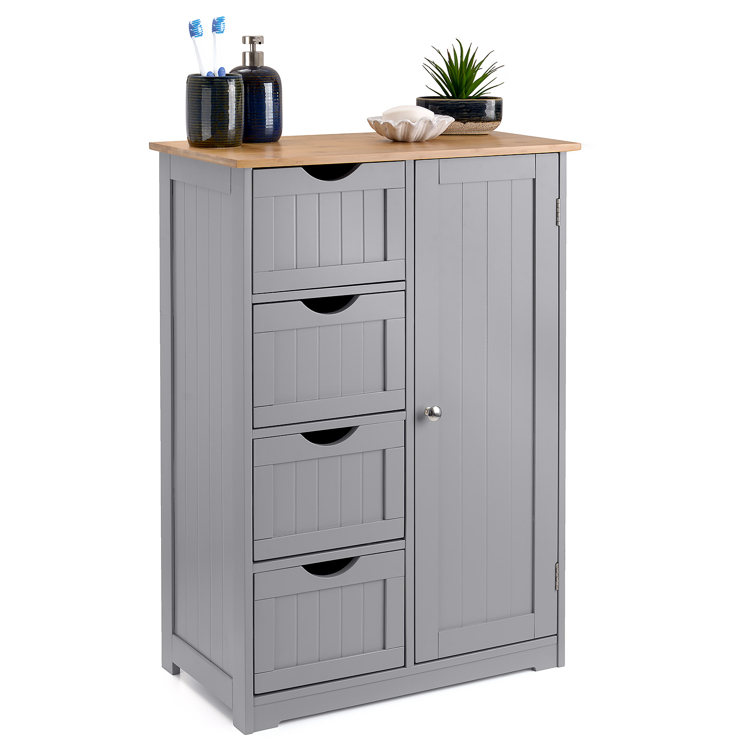 Image of Grey & Bamboo 4 Drawer Cabinet
