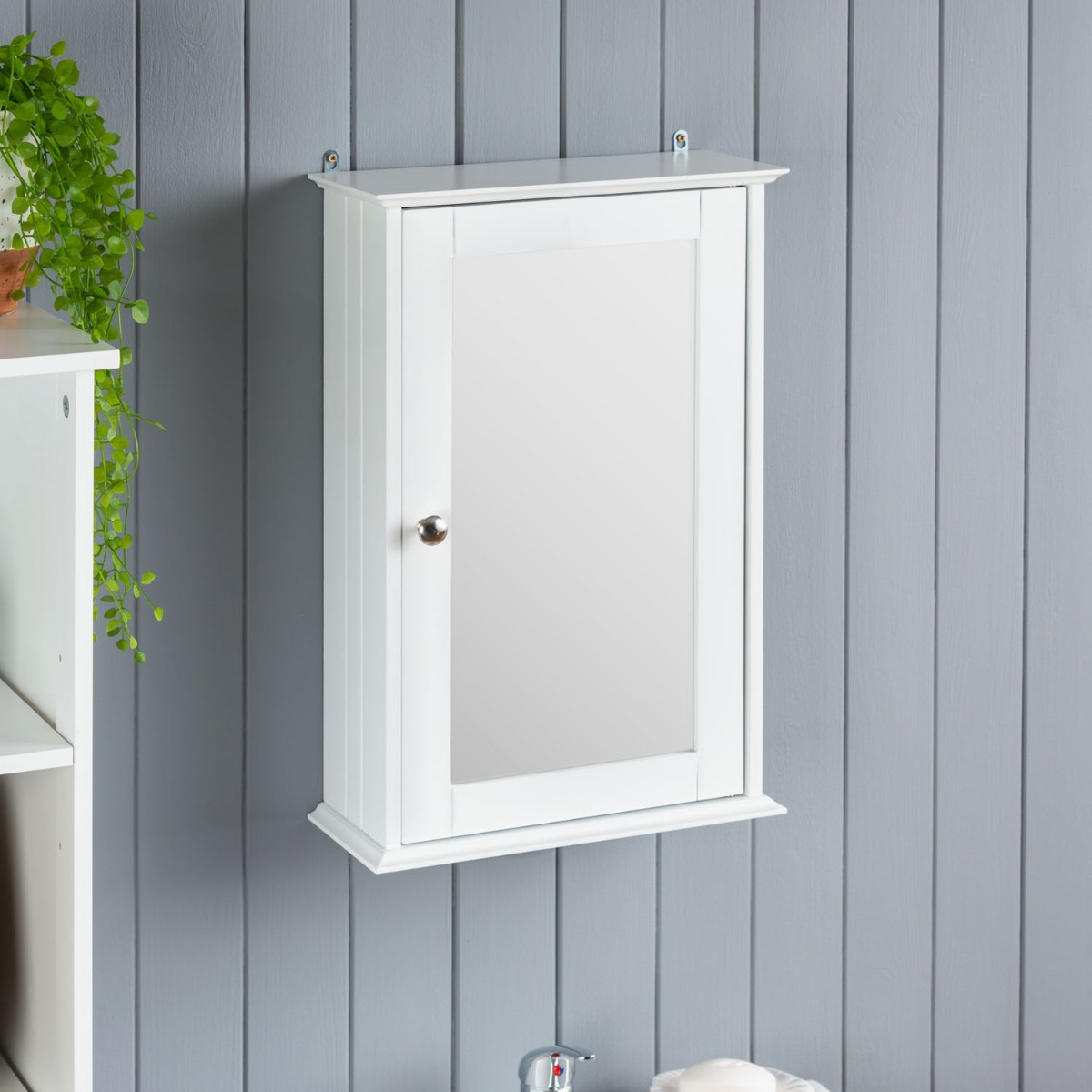 Image of Small White Mirrored Cabinet