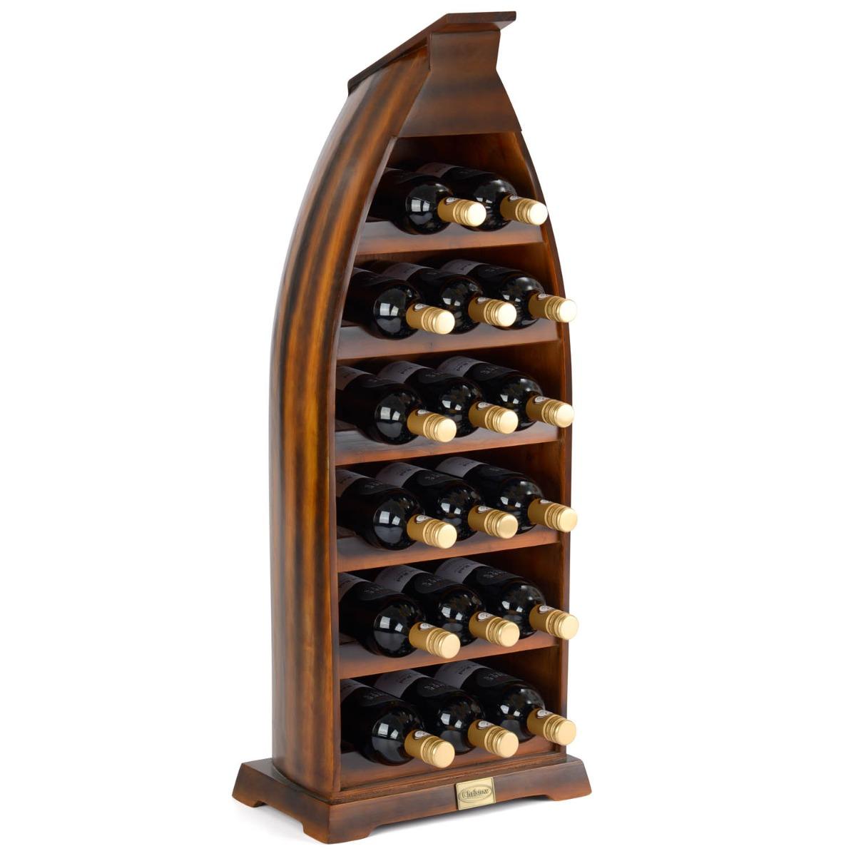Image of 17 Bottle Boat Wine Rack - Dark