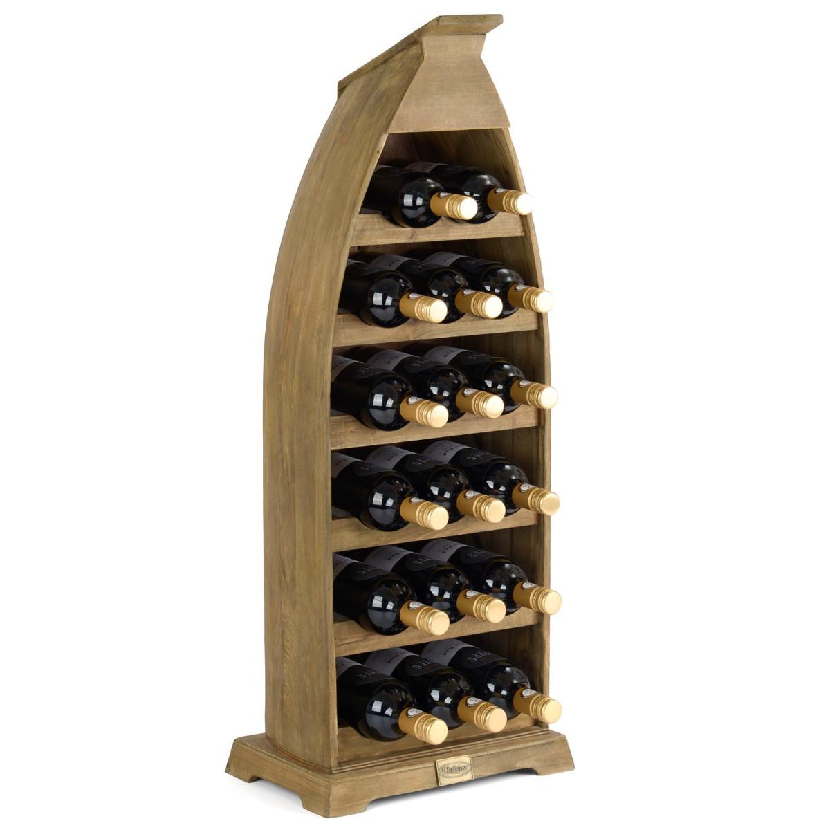 Image of 17 Bottle Boat Wine Rack - Light