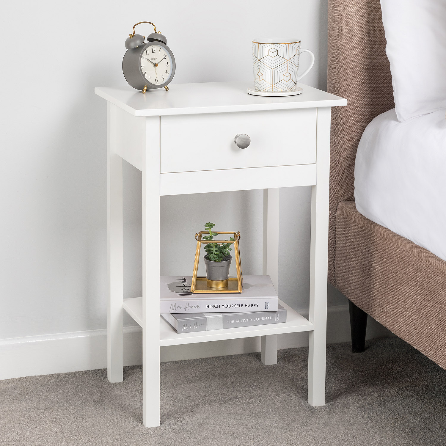 Image of White Bedside Table With Shelf