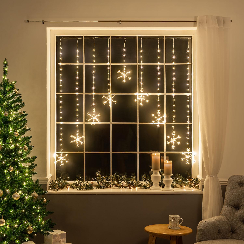 Image of Micro LED Snowflake Curtain Lights