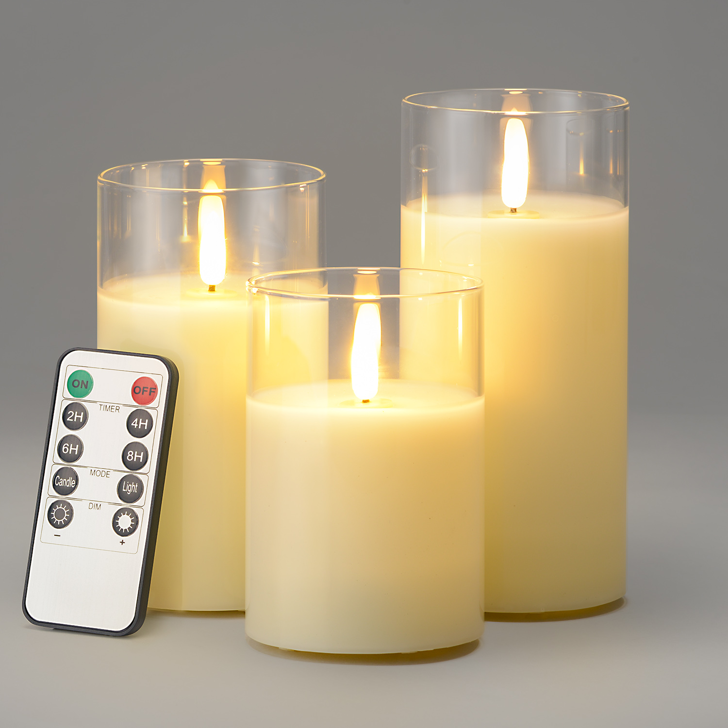 Image of Glass Candles With Remote - Cream