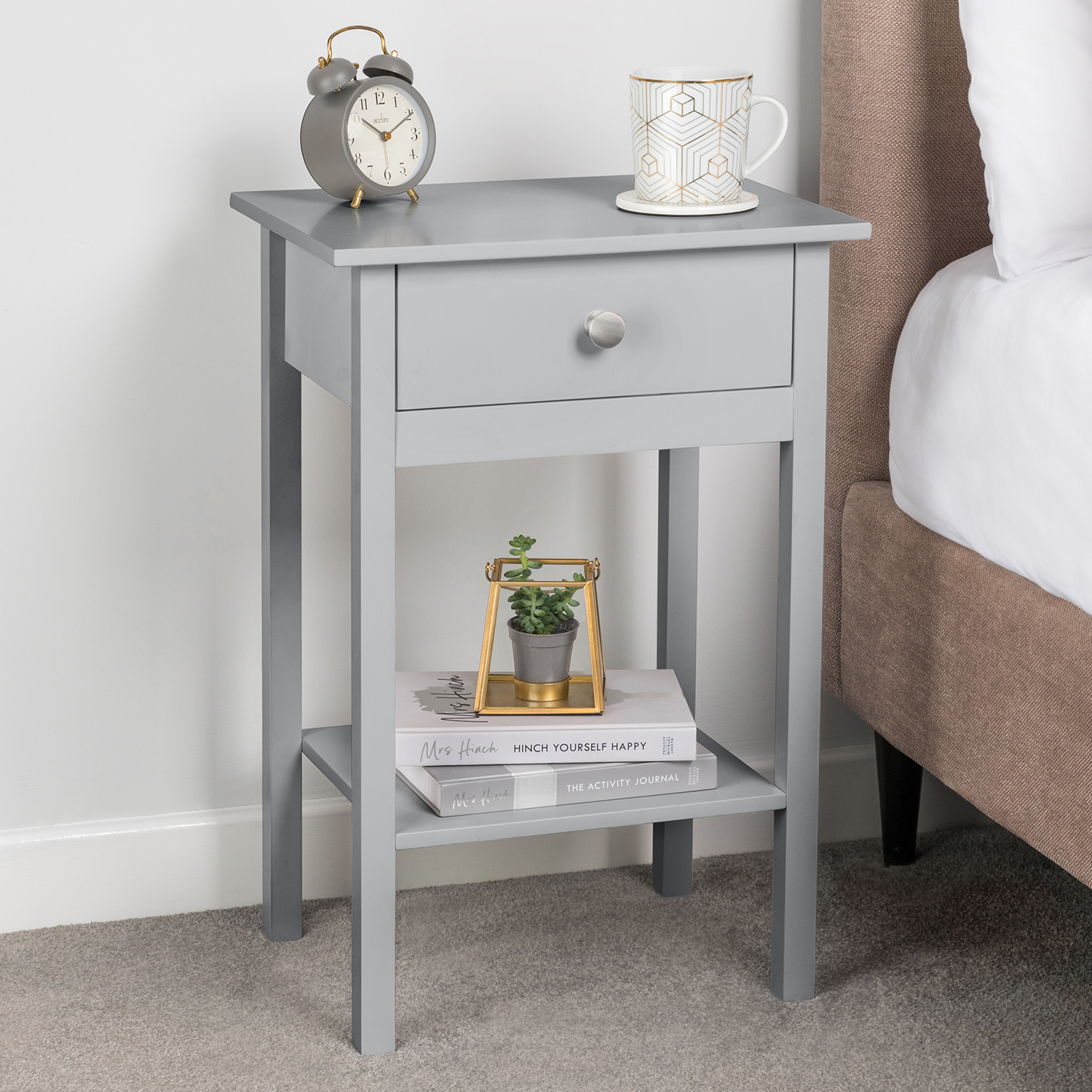 Image of Bedside Table With Shelf - Grey