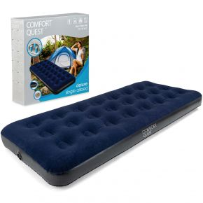 Single Air Bed Inflatable Airbed Flocked Camping Guest Mattress Comfort Quest
