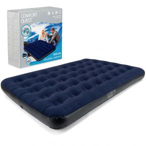 Double Air Bed Inflatable Airbed Flocked Guest Camping Mattress Comfort Quest