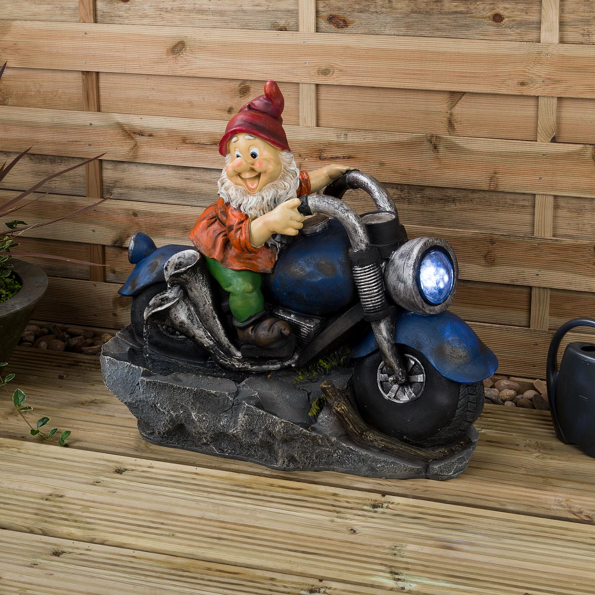 Image of Gnome Water Fountain With LED - Biker
