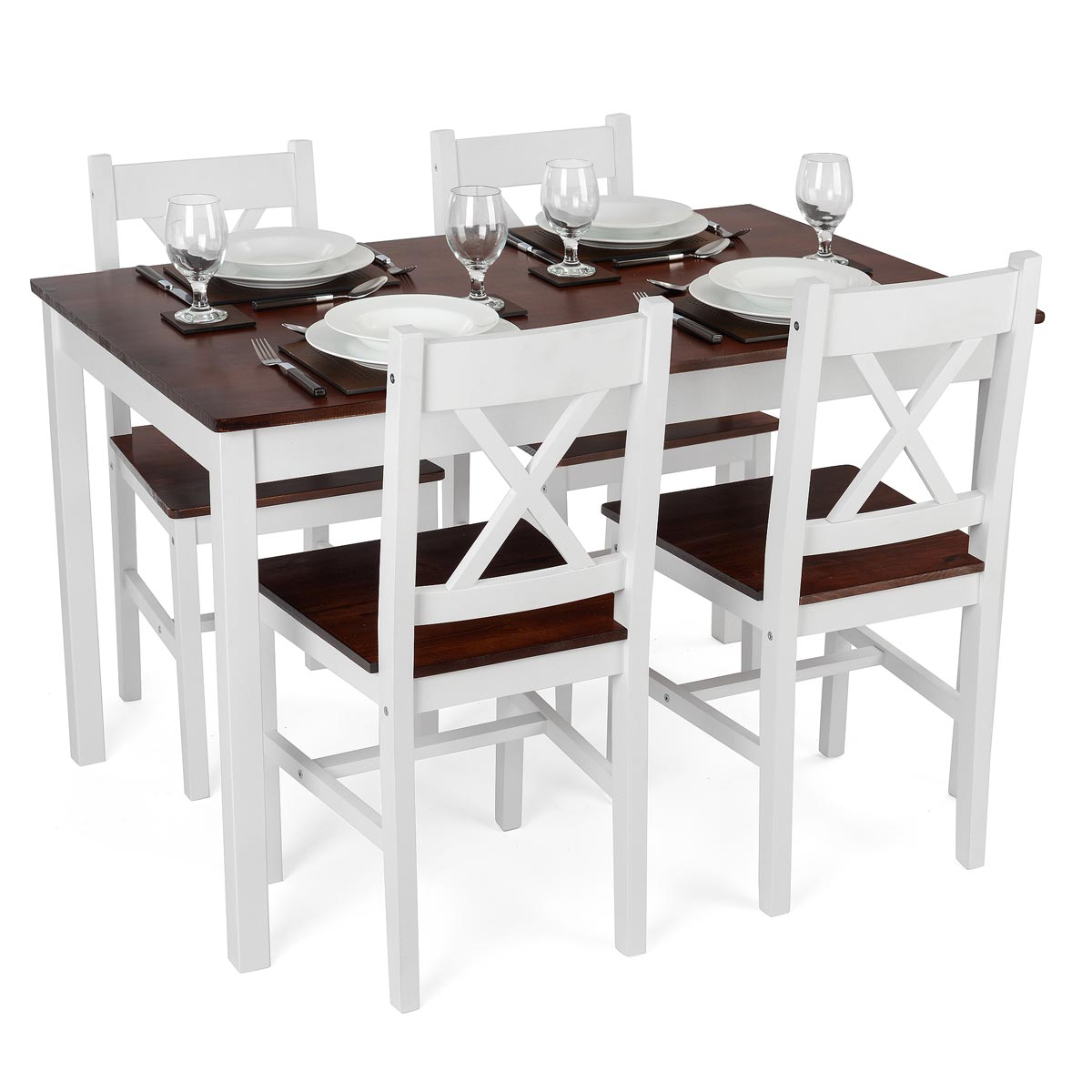 Image of Christow White Pine Dining Table & Chairs Set