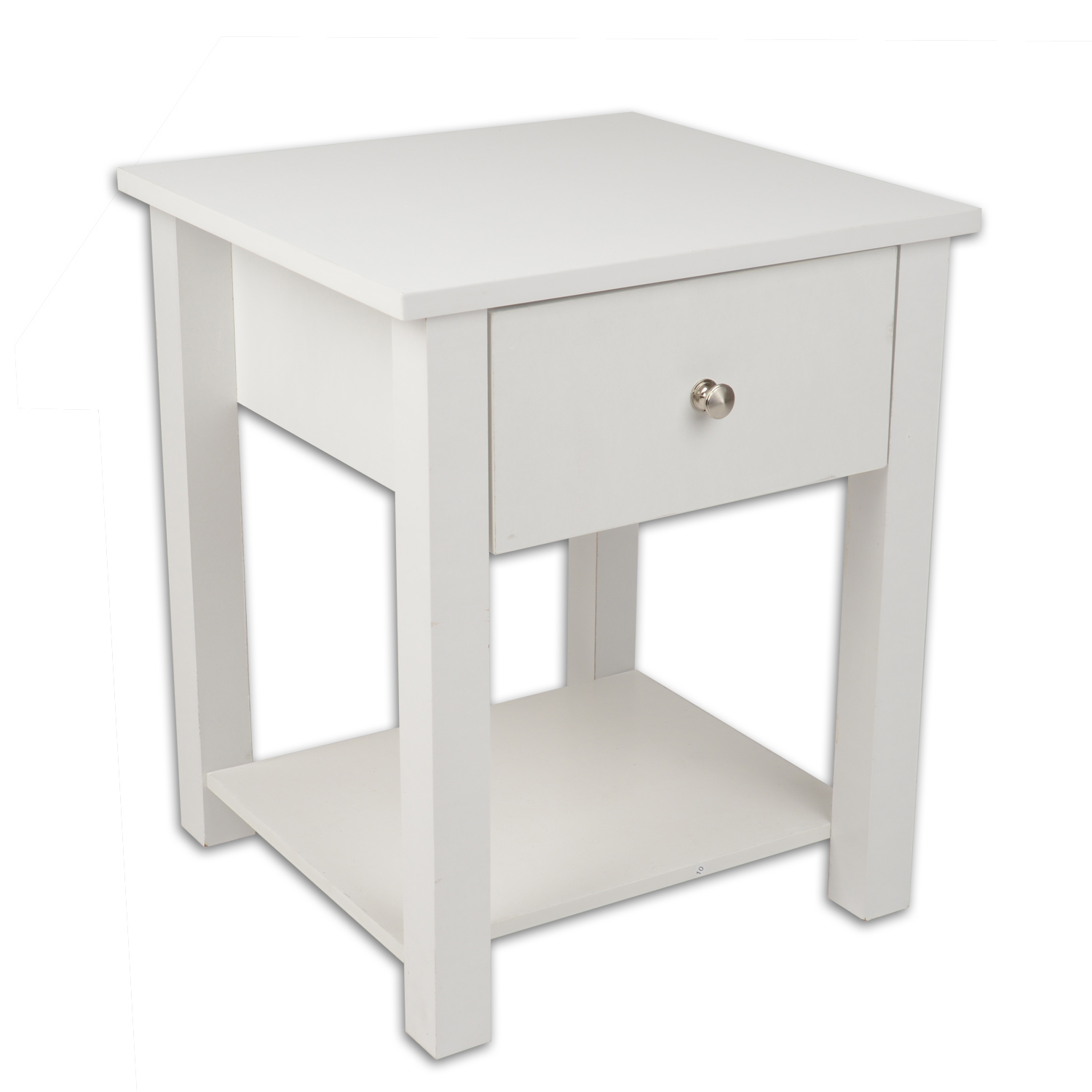 Image of Christow Wooden 1 Drawer Nightstand (White)