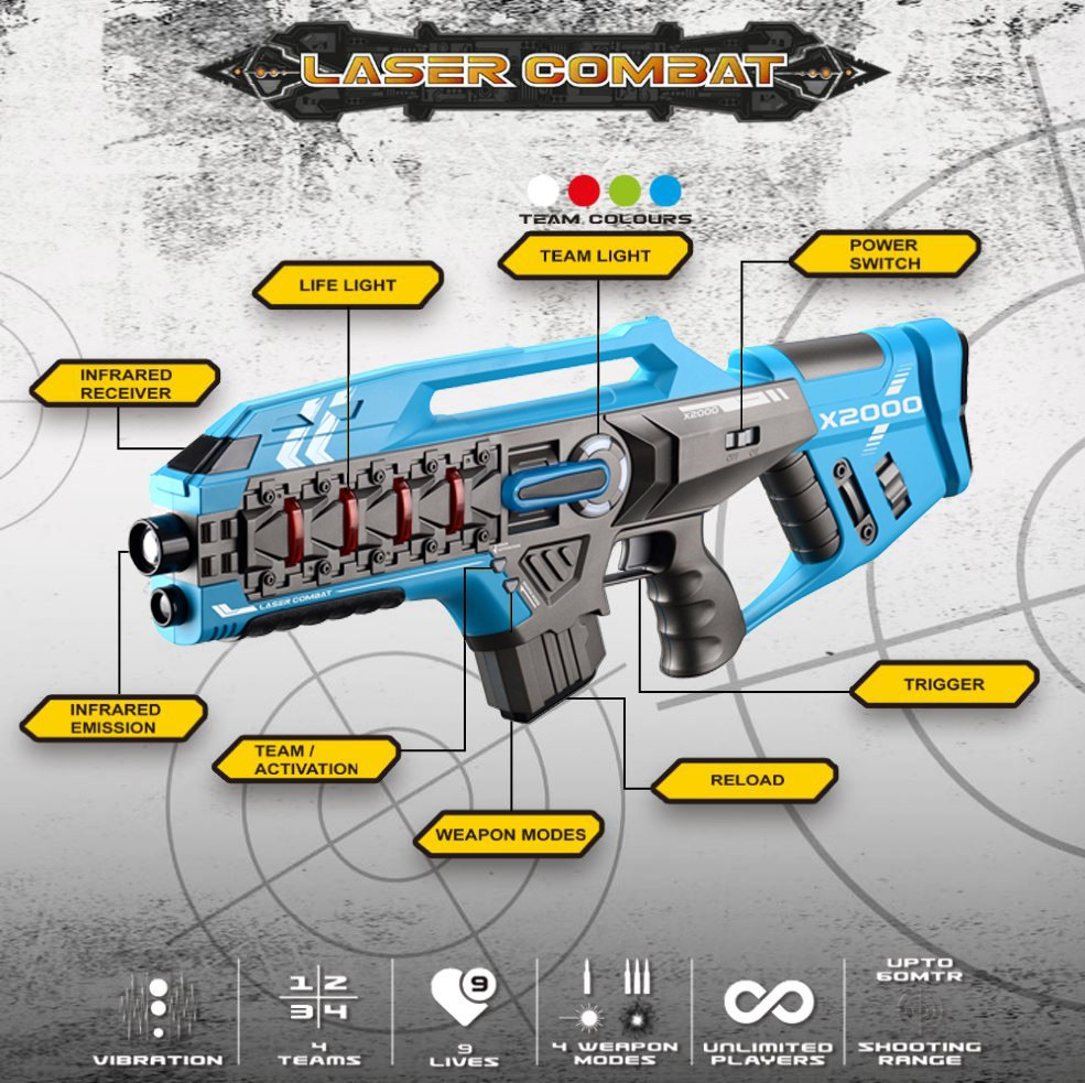 Laser-Tag-Game-Kids-Electronic-2-Blaster-Gun-Battle-Set-60m-Shooting-Range thumbnail 16