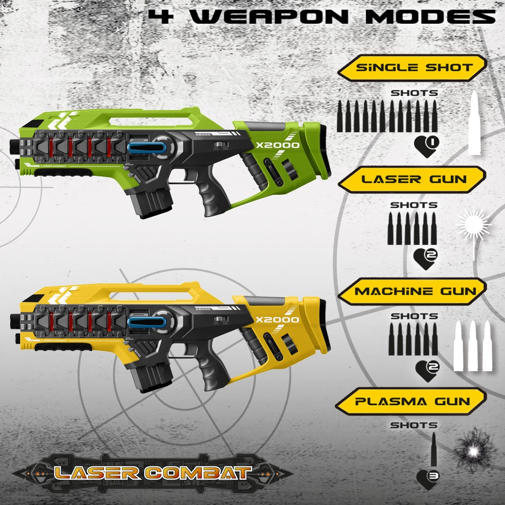 Laser-Tag-Game-Kids-Electronic-2-Blaster-Gun-Battle-Set-60m-Shooting-Range thumbnail 11