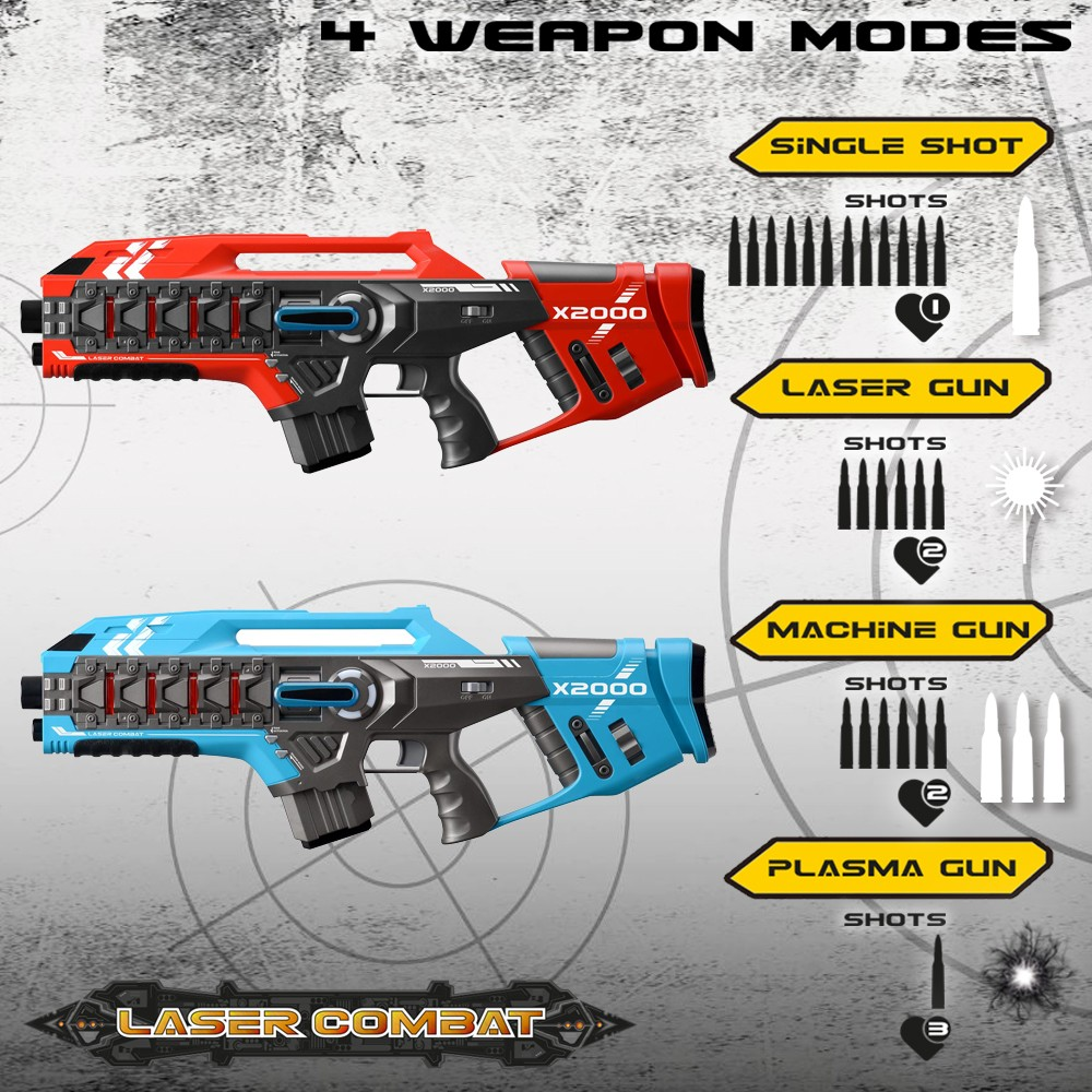 Laser-Tag-Game-Kids-Electronic-2-Blaster-Gun-Battle-Set-60m-Shooting-Range thumbnail 17